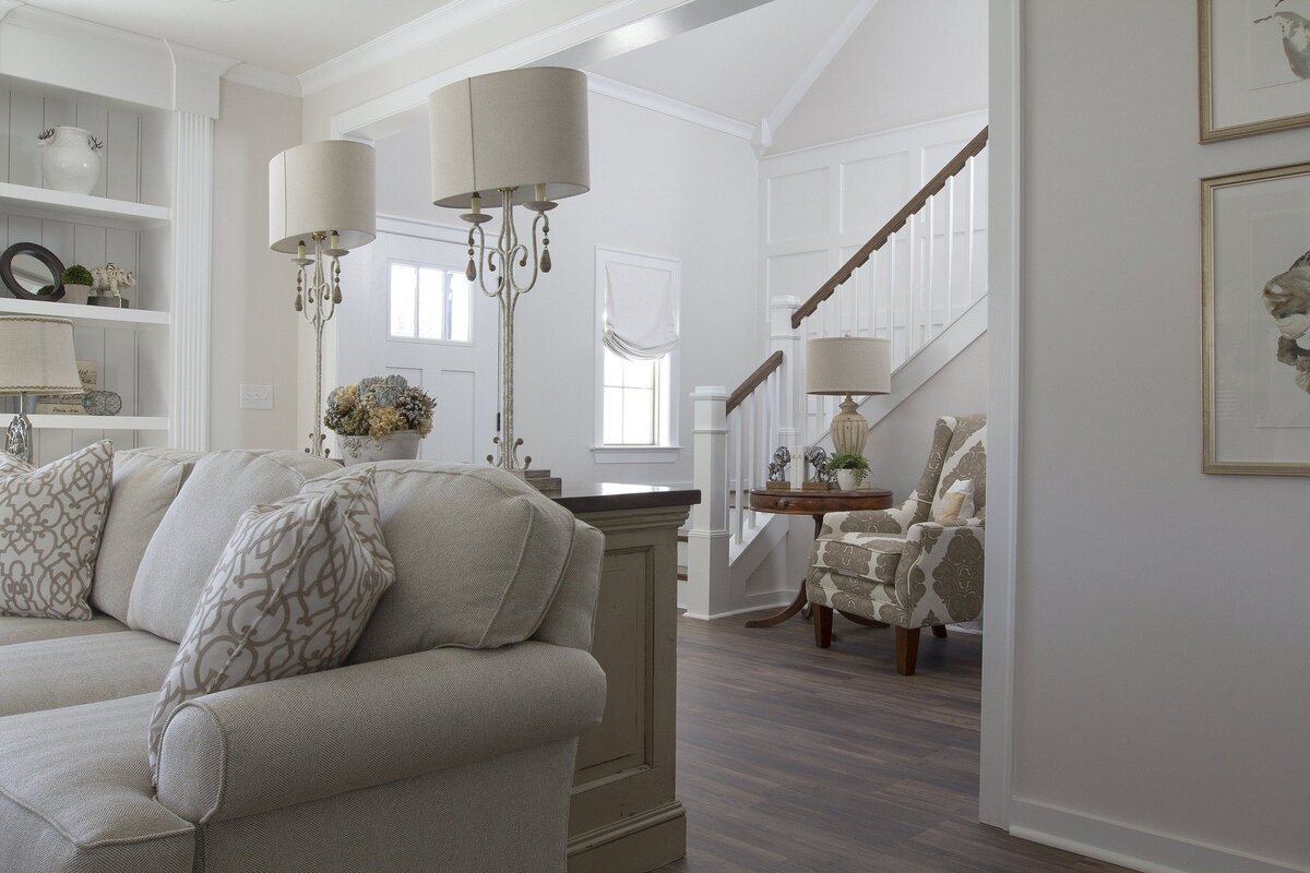 Stylish Living Room and Stairs