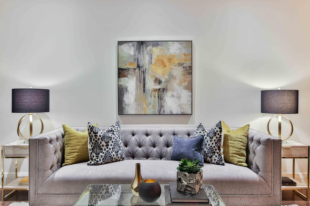 Luxury Living Room with Wall Art